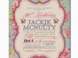 Vintage Style Birthday Invitations Adult Birthday Invitation Vintage Rose Shabby Chic Rustic