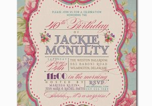 Vintage Style Birthday Invitations Adult Birthday Invitation Vintage Rose Shabby Chic Rustic