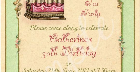 Vintage Style Birthday Invitations Any Age Shabby Chic Vintage Tea Party Birdcage Birthday