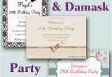 Vintage Style Birthday Invitations Vintage Damask Style Birthday Party Invitations 18th