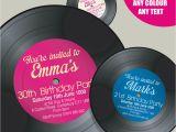 Vinyl Record Birthday Invitations Vinyl Record Shape Personalised 18th 21st 30th 40th