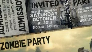 Walking Dead Birthday Invitations the Walking Dead Party theme Invitation Ticket for