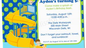 Water Park Birthday Invitations Printable Boy Waterpark Party Invitation 598