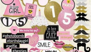 What to Get for 15th Birthday Girl Photo Booth Props Happy 15th Birthday Girl Printable