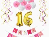 What to Get for 16th Birthday Girl Sweet Girl 16th Birthday Party Decoration Kit Happy