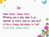 What to Say On A Happy Birthday Card Write Name On butterflies Birthday Card for Sister Happy
