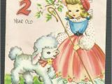 What to Write In 2 Year Old Birthday Card 1950 39 S Vintage Children 39 S Birthday Card 2 Two Year Old