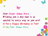 What to Write In Sister S Birthday Card Write Name On butterflies Birthday Card for Sister Happy