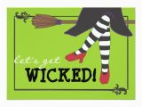 Wicked Birthday Card Fun Wicked Witch On Broom Halloween Party 5×7 Paper
