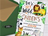 Wild Animal Birthday Party Invitations Safari Jungle Birthday Party Printable Invitations Cute