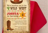 Wild West Birthday Invitations Cowboy Wild West Birthday Party Invitation From 0 80 Each