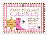 Wild West Birthday Invitations Personalized Cowgirl Birthday Invitations