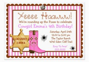 Wild West Birthday Invitations Personalized Cowgirl Birthday Invitations