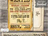Wild West Birthday Invitations Wild West Cowboy Boys Party Invitation Instant Download