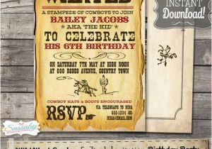 Wild West Birthday Invitations Wild West Cowboy Boys Party Invitation Instant Download
