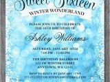 Winter themed Birthday Invitations Sweet 16 Winter Wonderland Glitter Lights Invitations