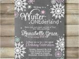 Winter themed Birthday Invitations Winter Onederland Girl Birthday Party Invite Invitation