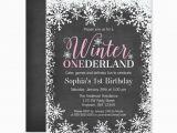Winter themed Birthday Invitations Winter Onederland Snow Chalkboard Girl 1st Birthday