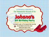 Wizard Of Oz Birthday Party Invitations Personalised Birthday Invitations Wizard Of Oz X 5 Ebay
