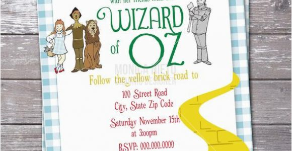 Wizard Of Oz Birthday Party Invitations Wizard Of Oz Birthday Party Invitation Over the Rainbow