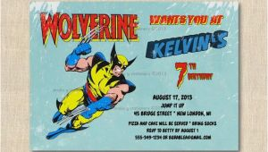 Wolverine Birthday Invitations Superhero Wolverine Birthday Party Invitation 12 Printed