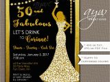 Womans 50th Birthday Decorations 50th Birthday Party Invitations Woman Bling Dress 40th Womans