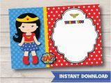 Wonder Woman Birthday Card Printable Wonder Woman Thank You Cards Girls Birthday by