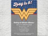 Wonder Woman Birthday Card Printable Wonder Woman themed Birthday Invitation Printable or