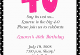 Wording for 40th Birthday Party Invitations 40th Birthday Party Invitation Wording Free Printable