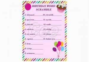 Words for A Birthday Girl Birthday Party Word Scramble Game for Girls Print as