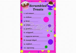 Words for A Birthday Girl Printable Snack themed Word Scramble Game for Kids Great