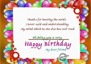 Words for Friends Birthday Card Thanks for Hearing the Words Wishbirthday Com