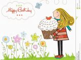 Www.happy Birthday Cards Birthday Card with Blonde Girl and Cupcake Stock Image