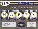 Yellow and White Happy Birthday Banner Items Similar to 75 Off Sale Navy Yellow Happy Birthday