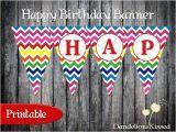 Yellow and White Happy Birthday Banner Rainbow Blue Pink Purple Red Yellow Chevron Happy Birthday