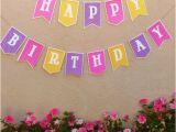Yellow and White Happy Birthday Banner Yellow Purple Pink Happy Birthday Banner W White Polka