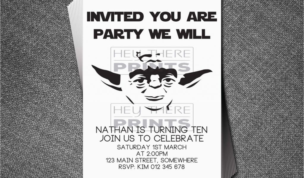 Yoda Birthday Invitations Star Wars Darth