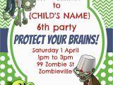 Zombie Birthday Party Invitations Party Invitation Plants Vs Zombies