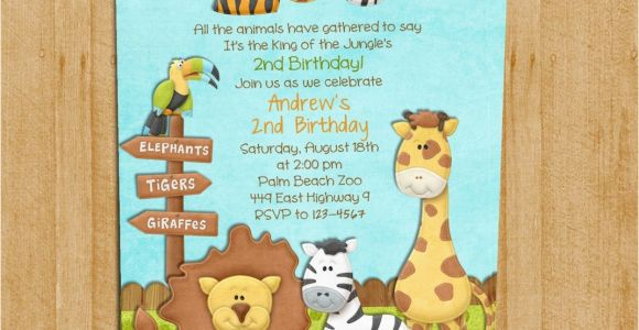 Zoo Birthday Invitations Free Zoo Birthday Invitation Jungle Animals Custom and