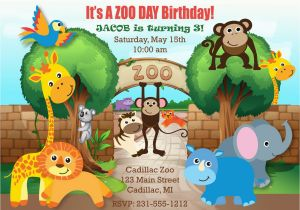 Zoo Themed Birthday Party Invitations For